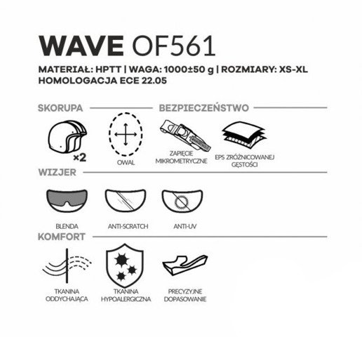KASK OTWARTY LS2 OF561 WAVE BEAT FLUO GREEN
